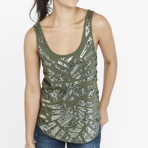 Olive sequin embellished geo pattern muscle tank